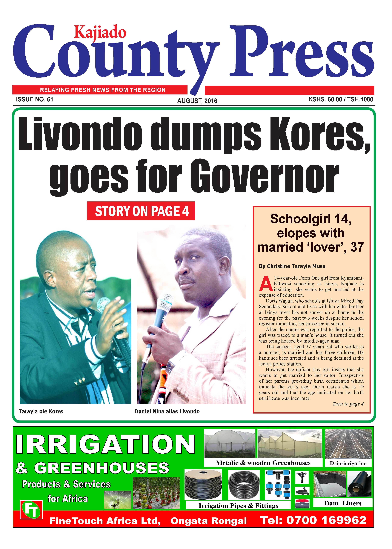 Livondo dumps Kores, goes for Governor