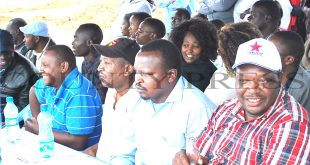 Ngong MCA Paul Supet (2nd right), Kajiado North MP aspirant Peter ole Musei (right) among others during a public debate forum organized by Kajiado North Voice Initiative in Ngong town recently to discuss public utility land. Photo/Obegi Malack