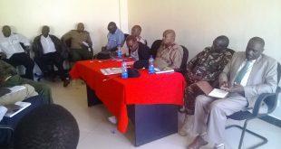 Kajiado County Commissioner, David Kipkemei (third right) during a meeting in Namanga recently.