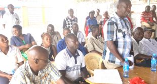 Rongai MCA Mwathi Pere addressing Rongai residents during a consultative meeting. Photo/Obegi Malack