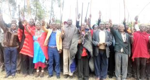 A section of Keek-Onyokie members on July 26, 2017 when they demanded the Ngong veterinary farm. The members have again staked their claim to the 1, 850-acre prime land which they want  reverted to Keek-Onyokie  community.