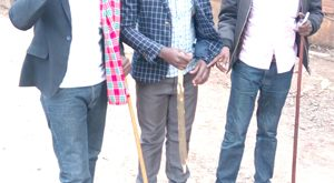 Tobiko Supeyo(left) and Emmanuel Tinga were among youth leaders who led a peaceful protest against illegal land subdivision in the far interior areas