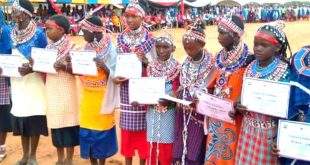 Young girls who had rejected Female Genital Mutilation (FGM) graduate after undergoing Alternative Rite of Passage (ARP) during a ceremony held in Lenkisim, Kajiado South Sub-county  recently. Photo/Kurgat Marindany