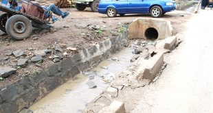 A section of Magadi Road drainage which is worn out only a few months after its construction. Photo/Kiptanui Rutto