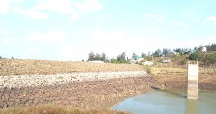 Water level in Kiserian Dam has dropped drastically forcing  residents to depend on boreholes. Photo/Obegi Malack