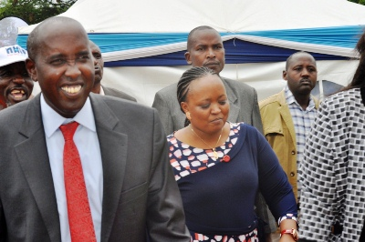 Governor Joseph Lenku arrives in Ng'atatek Health Centre on May 10.