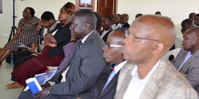 Health officers listen keenly to  Governor Lenku at Masai Technical recently in Kajiado town Photo By Philip Tianda