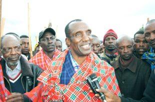 Former Olposimoru MCA Wilson Masikonde addressing the press at Oloposimoru. Photo/David Lepatei